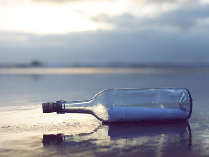 Flaschenpost, message in a bottle