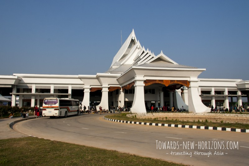 The completely supersized border building on Thai side. You have to cross by bus, fixed price only 20 Baht.