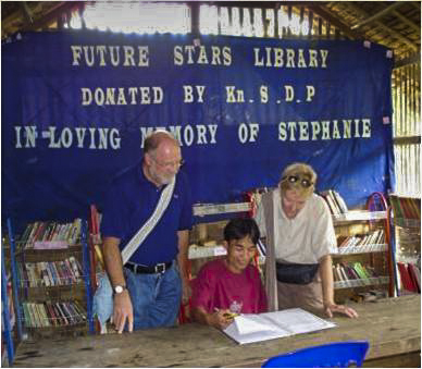 "Beryl and Steve on the opening day of the ""Future Stars"" Memorial Library financed by KSDP"